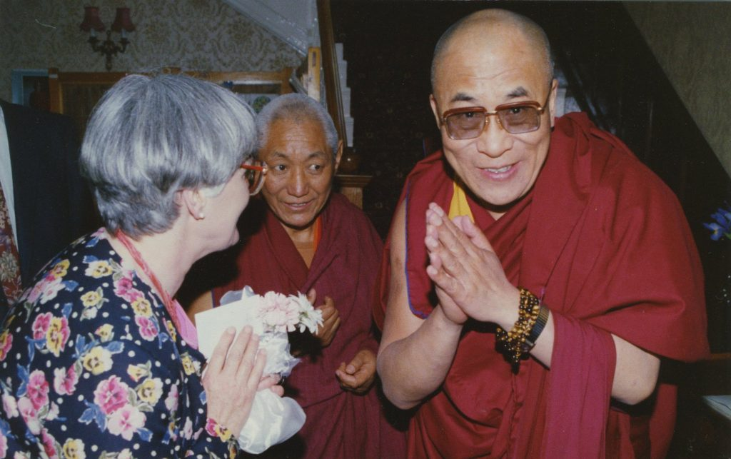 Geshe Damcho and His Holiness at Lam Rim Wales, 1993