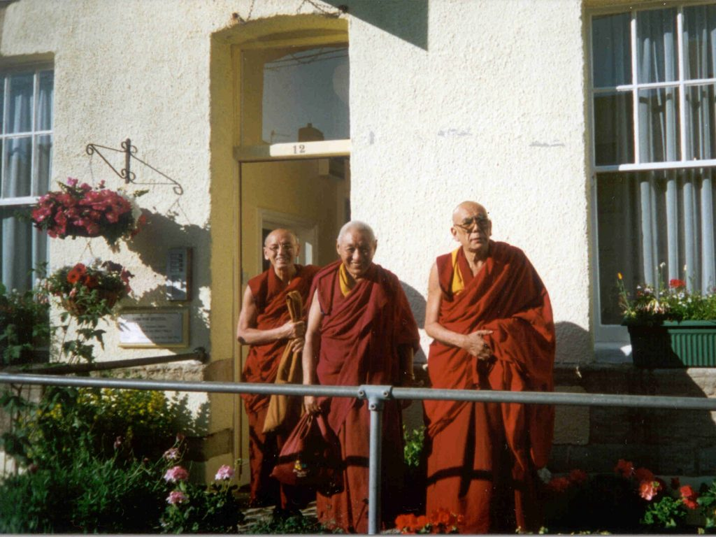 Geshe Damcho with Rizong Rinpoche at Lam Rim Bristol, May 1990